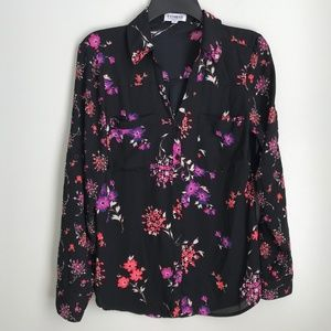 Express The Portofino Shirt Black Floral Blouse